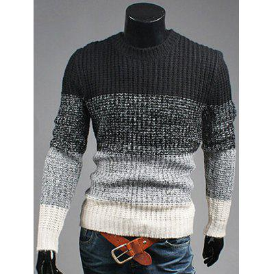 Buy BLACK Contrast Color Striped Crew Neck Texture Sweater for $24.63 in GearBest store