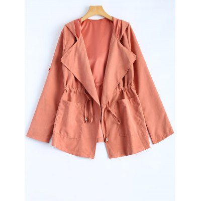 Hooded Drawstring Design Jacket