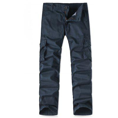 Zipper Fly Pockets Design Straight Leg Cargo Pants