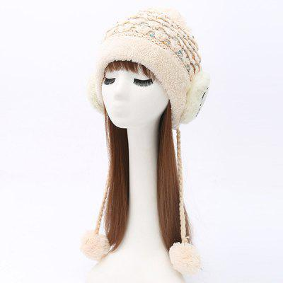 Plush Edge Ball Smile Face Tiered Rhinestone Beanie