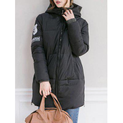 Patch Padded Hooded Coat