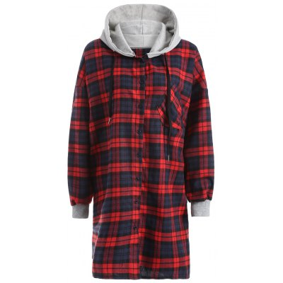 Hooded Plaid Button Up Coat