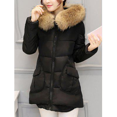 Pocket Padded Coat with Furry Hood