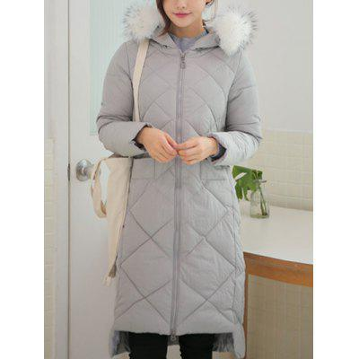 Slim Hooded High Low Long Quilted Coat