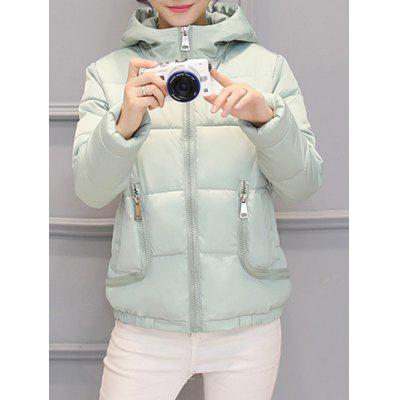 Slim Pocket Design Hooded Puffer Jacket
