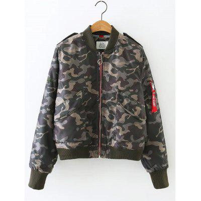 Camouflage Print Padded Flying Jacket