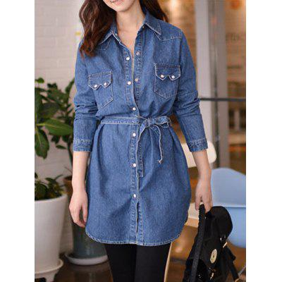 Front Pockets Long Jean Jacket With Belt