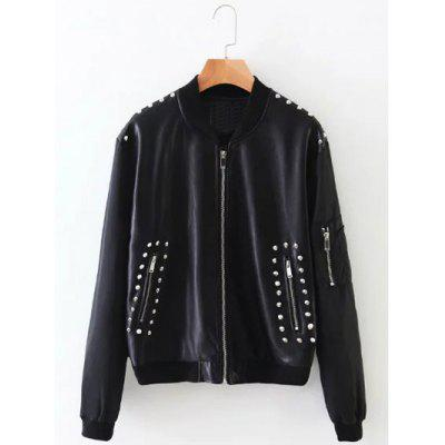 Rivet Embroidered PU Leather Jacket