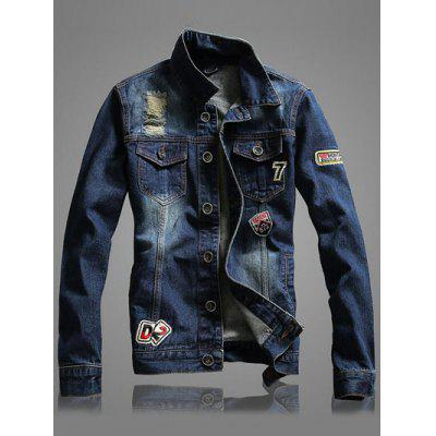 Letter Number Embroidery Distressed Denim Jacket