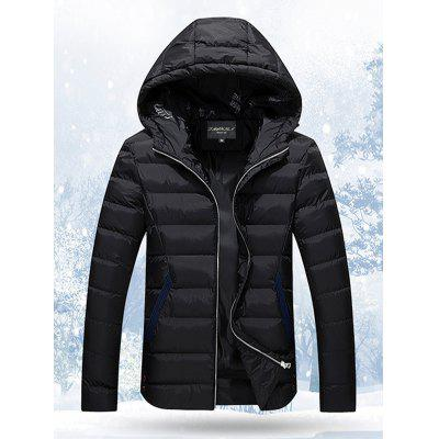 Hooded Stand Collar Thicken Zip-Up Quilted Jacket
