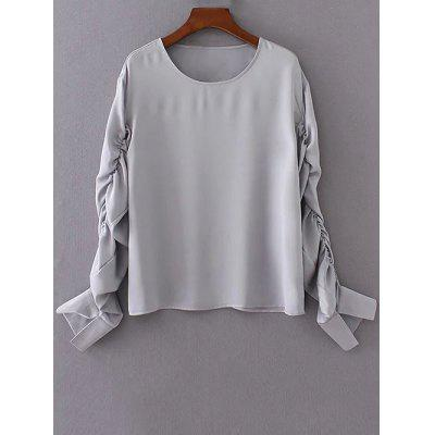 Ruched Long Sleeve Chiffon Top