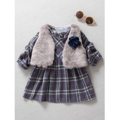 Kids Long Sleeve Plaid Mini Dress With Cape