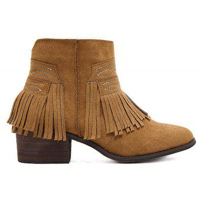Stitching Fringe Zipper Ankle Boots