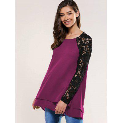 Lace Splicing BlouseBlouses<br>Lace Splicing Blouse<br><br>Collar: Round Neck<br>Material: Polyester<br>Package Contents: 1 x Blouse<br>Pattern Type: Floral<br>Season: Fall, Spring<br>Shirt Length: Long<br>Sleeve Length: Full<br>Style: Casual<br>Weight: 0.350kg