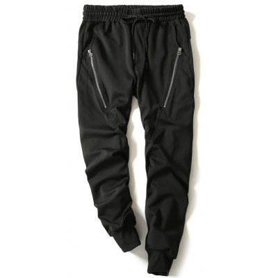 Drawstring Zip Embellished Beam Feet Jogger Pants