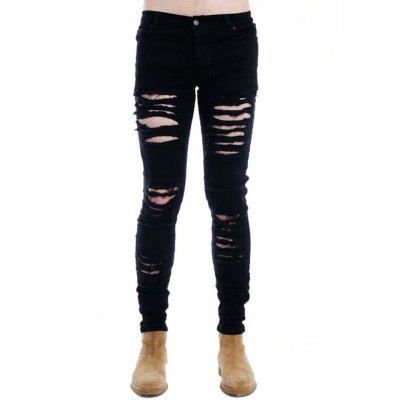 Zipper Fly Distressed Dark Jeans