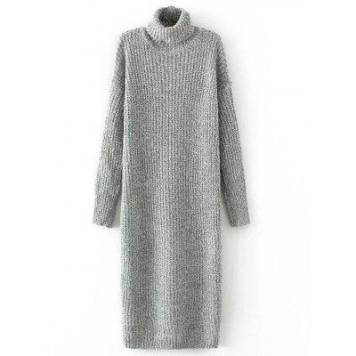 Turtleneck Long Jumper Dress with Sleeves