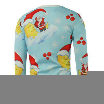 Santa Snowflake Moon Printed Long Sleeve Blue SweatshirtMens Hoodies &amp; Sweatshirts<br>Santa Snowflake Moon Printed Long Sleeve Blue Sweatshirt<br><br>Material: Cotton, Polyester<br>Package Contents: 1 x Sweatshirt<br>Shirt Length: Regular<br>Sleeve Length: Full<br>Style: Casual<br>Weight: 0.300kg