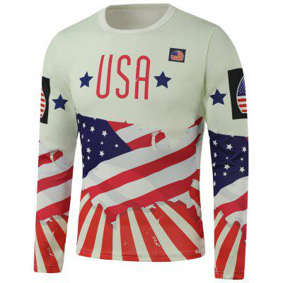 Crew Neck USA Flag Star Print Long Sleeve Sweatshirt