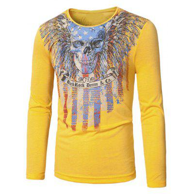 Buy YELLOW Crew Neck Skull and Striped Print Long Sleeve T-Shirt for $14.70 in GearBest store