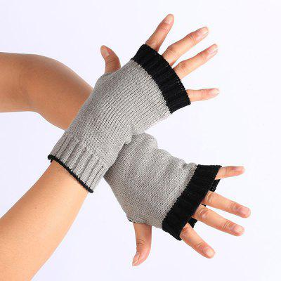 Double Color Knitted Fingerless Gloves