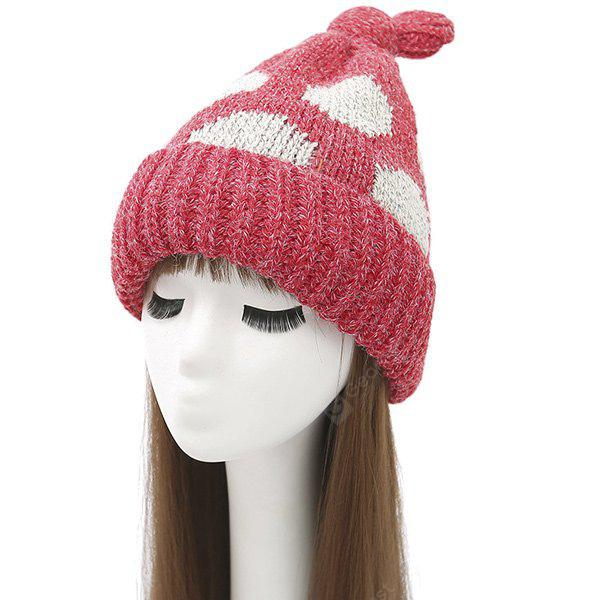 Knot Top Flanging Stampa Dot maglia Beanie