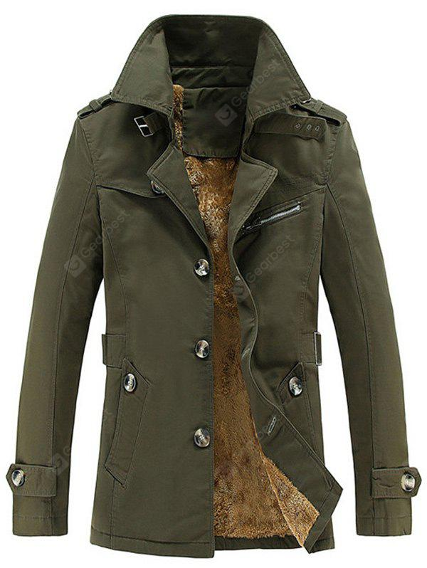 ARMY GREEN Turn-Down Collar Single-Breasted Zip Embellished Fleece Coat