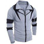 Buy Contrast Color Paneled Drawstring Double Zip Hoodie M GRAY