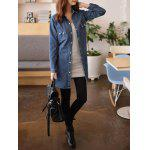 cheap Front Pockets Long Jean Jacket With Belt