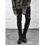 cheap Zipper Fly Black Ripped Skinny Jeans