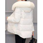 cheap Slim Faux Fur Collar Puffer Jacket