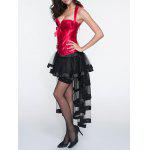 cheap Halter Laciness Corset + Fringed Asymmetrical Skirt Twinset