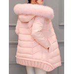 Asymmetrical Hooded Padded Coat - PINK