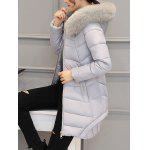 Asymmetrical Hooded Padded Coat - GRAY