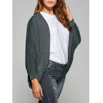 Buy Collarless Batwing Sleeve Asymmetric Cardigan GRAY