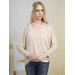 Batwing High Low Blouse - LIGHT APRICOT