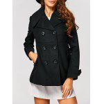 Fitting Woolen Pea Coat - BLACK