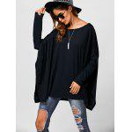 Drop Shoulder Side Slit Smock Tee - BLACK