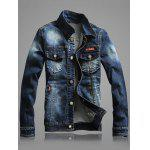 Multi-Pocket Distressed Long Sleeve Denim Jacket