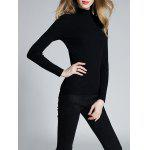 cheap Slimming Mock Neck Ribbed Knitwear