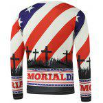 American Flag Star Crucifix Printed Long Sleeve Sweatshirt - VERMELHO