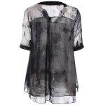 cheap Summer Ink Painting Print Chiffon Blouse