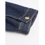 best Pockets Embellished Turn-Down Collar Denim Jecket