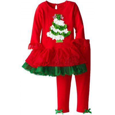 Christmas Flower Flounced Dress + Ruffle Pants