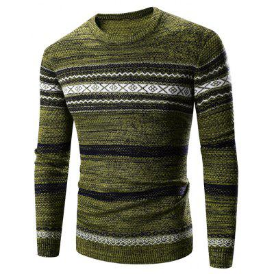 Buy ARMY GREEN XL Crew Neck Waviness Splicing Pattern Long Sleeve Sweater for $17.55 in GearBest store