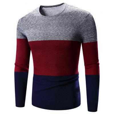 Crew Neck Color Block Splicing Long Sleeve Sweater