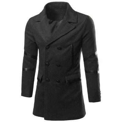 Indietro Doppio-breasted Vent Notch Lapel Faux Leather Cappotto di Pea