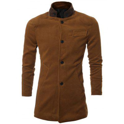 PU Stand Collar Single Breasted Wool Blend Coat
