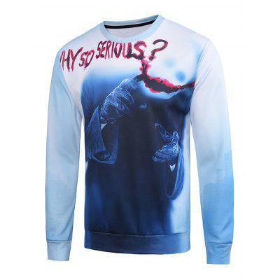 3D Clown Blood Hands Printed Long Sleeve Holloween Sweatshirt