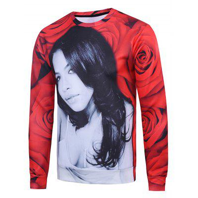 3D Rose Flower Women Printed Long Sleeve Sweatshirt